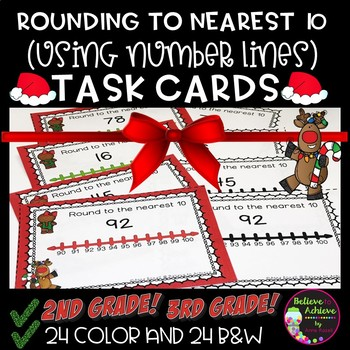 Rounding to nearest 10 (using Number lines) Task Cards: Christmas