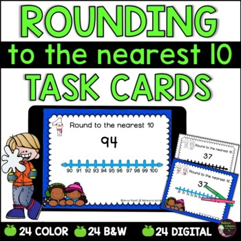 Rounding to nearest 10 (using Number lines) Task Cards: Winter