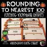 Rounding to nearest 100 (using Number lines) Task Cards: Halloween