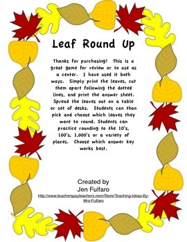 Rounding to the 10's, 100's and/or 1000's - Leaf Round Up