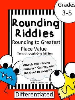 Rounding to the Greatest Place Value - Riddle Task Cards
