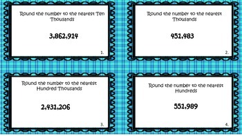 Rounding to the Hundred Thousands Task Cards