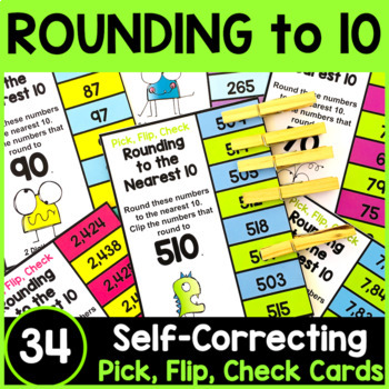 Rounding Numbers: Rounding to the Nearest 10 Clip Cards