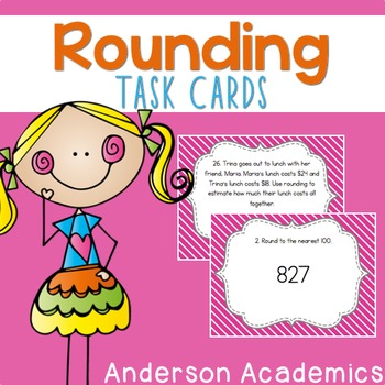 Rounding to the Nearest 10 & 100 Task Cards {3.NBT.1}