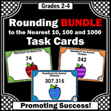 Rounding to the Nearest 10, 100, and 1000, Rounding Numbers Task Cards BUNDLE
