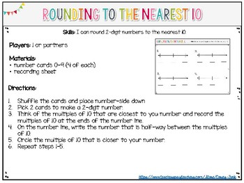 Everyday Math Rounding to the Nearest 10 Unit 1 Rounding Game Math Center