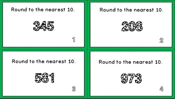 Rounding to the Nearest 10 Task Cards -- 1-100 and 1-1,000