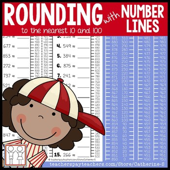 Rounding with Number Lines - Nearest 10 and 100 Worksheets