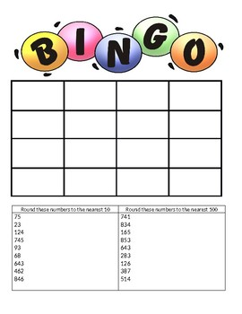 Rounding to the Nearest 10 and 100 BINGO Game