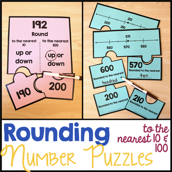 Rounding to the Nearest 10 and 100 Number Puzzles