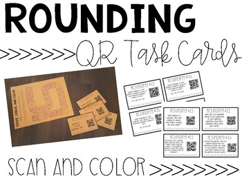 Rounding to the Nearest 10 and 100 QR Task Cards