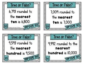 Rounding to the Nearest 10 and 100 Task Cards - Error Analysis