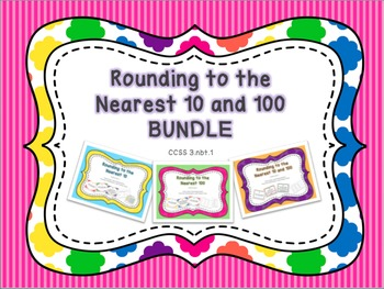 Rounding to the Nearest 10 and 100 Task Cards and Practice Worksheets BUNDLE