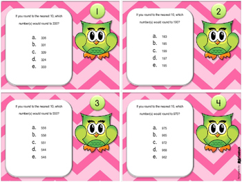 Rounding to the Nearest 10 with 3-digit Numbers Task Cards