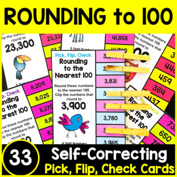 Rounding Numbers: Rounding to the Nearest 100 Clip Cards