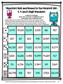 Rounding Numbers Games: Rounding to the Nearest 100 Rounding Games