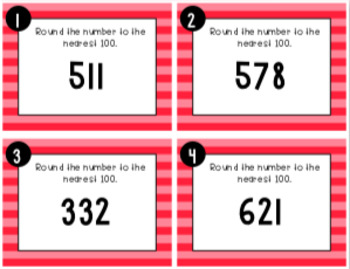Rounding to the Nearest 100 Task Cards