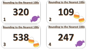 Rounding to the Nearest 100s Task Cards ((Halloween Themed))