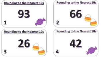 Rounding to the Nearest 10s Task Cards ((Halloween Themed))