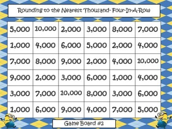 "Rounding to the Nearest Hundred/Thousand- ""Four in a Row"" Game"