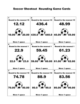 Rounding to the Nearest Ones and Tens Soccer Game