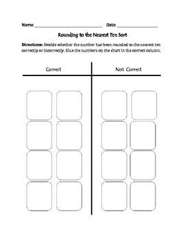 Rounding to the Nearest Ten: Cut, Sort, & Paste Activity