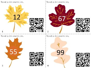 Rounding to the Nearest Ten - QR Code Hunt - Autumn/Fall Theme