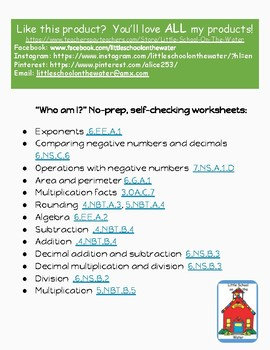 Rounding to the Nearest Ten Who Am I? Inventor Worksheet Freebie