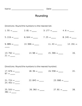 Rounding to the Nearest Ten and Hundred common core worksheet test homework