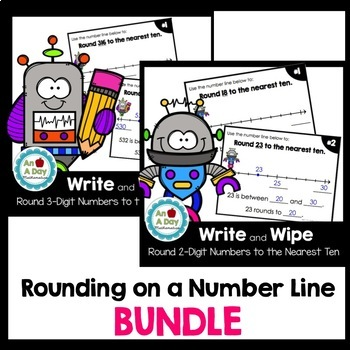 Rounding to the Nearest Ten on a Number Line BUNDLE