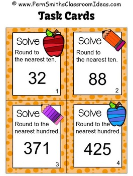 Rounding to the Nearest Ten or Hundred Task Cards