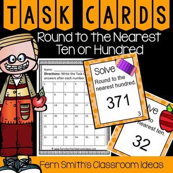Rounding to the Nearest Ten or Hundred Task Cards