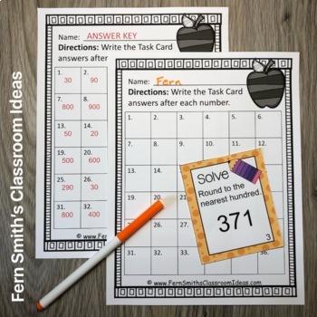 3rd Grade Go Math 1.2 Rounding to the Nearest Ten or Hundred Task Cards