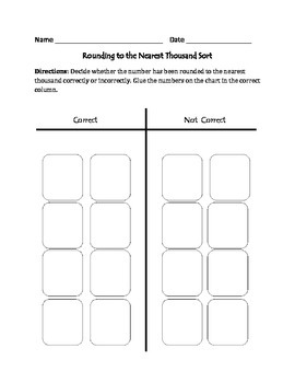 Rounding to the Nearest Thousand: Cut, Sort, & Paste Activity