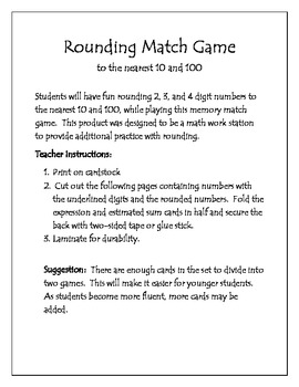 Rounding to the Neartest 10 and 100 - Match Game