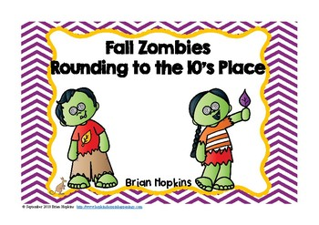 Rounding to the Ten's Place Fall Zombies Task Cards