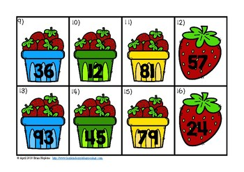 Rounding to the Ten's Place Strawberries Task Cards