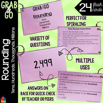 Rounding to the Tens, Hundreds, Thousands, and Millions Grab & Go Flashcards