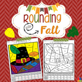Rounding to the Tens Place and Hundreds Place Fall Coloring Page