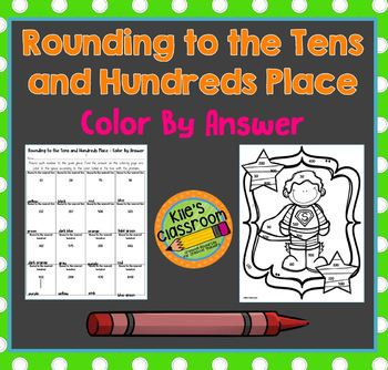 Rounding to the Tens and Hundreds Place Color By Answer