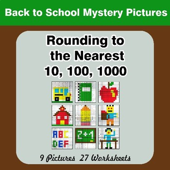 Rounding to the nearest 10, 100, 1000 | Back To School Math Mystery Pictures