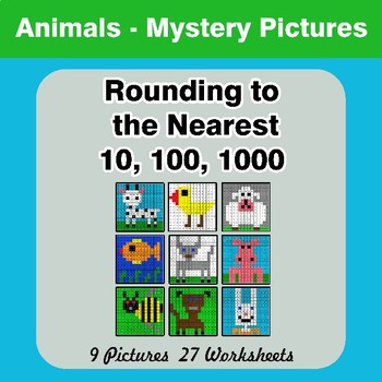 Rounding to the nearest 10, 100, 1000 | Math Mystery Pictures - Animals