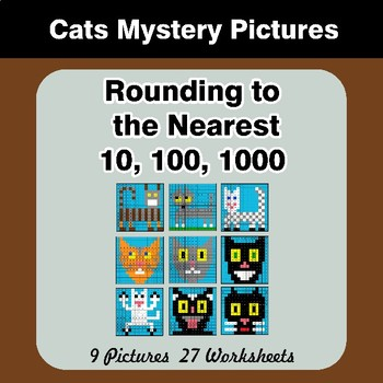 Rounding to the nearest 10, 100, 1000 | Math Mystery Pictures - Cats