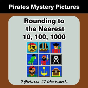 Rounding to the nearest 10, 100, 1000 | Math Mystery Pictures - Pirates
