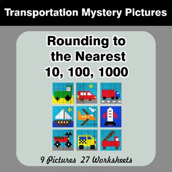 Rounding to the nearest 10, 100, 1000 | Math Mystery Pictures - Transportation