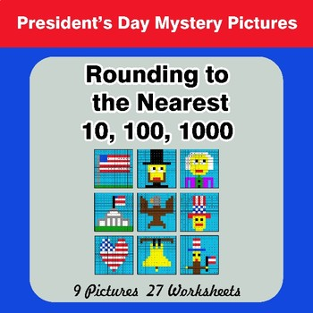 Rounding to the nearest 10, 100, 1000 |  President's Day Math Mystery Pictures