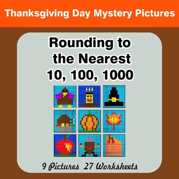 Rounding to the nearest 10, 100, 1000 | Thanksgiving Math Mystery Pictures