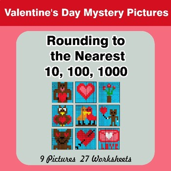 Rounding to the nearest 10, 100, 1000 | Valentine's Day Mystery Pictures
