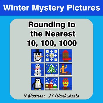 Rounding to the nearest 10, 100, 1000 | Winter Math Mystery Pictures