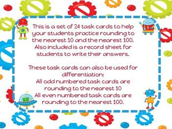 Rounding to the nearest 10 100 ten hundred robot themed task cards